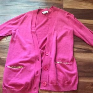 Loft pink sequin cardigan sweater